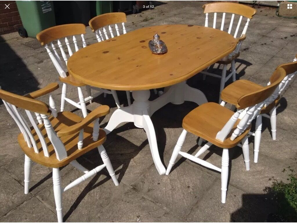 Pine Kitchen Table And Chairs Country Farmhouse Vintage Pine Dining Table 6 Chairs