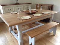 Large kitchen table with benches