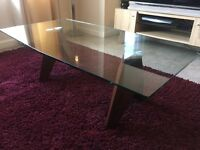 GLASS AND WOOD STYLISH COFFEE TABLE