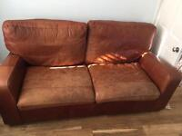 Genuine Cowhide Leather Sofa (M&S) & Poof