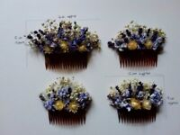 Dried flower hair combs