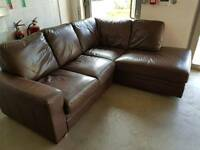 Brown leather corner sofa. Will deliver