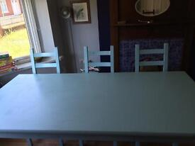 Duck egg Shabby Chic Solid 6 chair Dining Table Vintage pallet