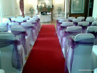 Wedding Décor Packages including Chair Covers for Hire 50 for £100 inc sashes and set up.