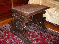 authentique table antique/1890 style Renaissance chêne&porphyre