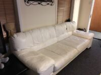 White leather sofa large cost £2000 new