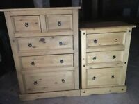 Solid oak effect chest of drawers £80 small , £120 large