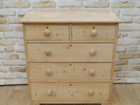 Victorian solid wooden Antique Chest of Drawers (Delivery)