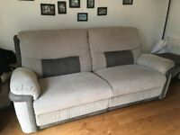 Grey Recliner Sofa and Footstool