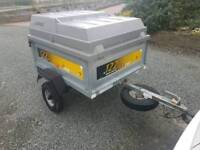Erde 122 car tipping trailer with hard top lid