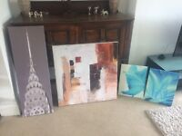 Canvas Pictures for sale - £5 for all 3 of them