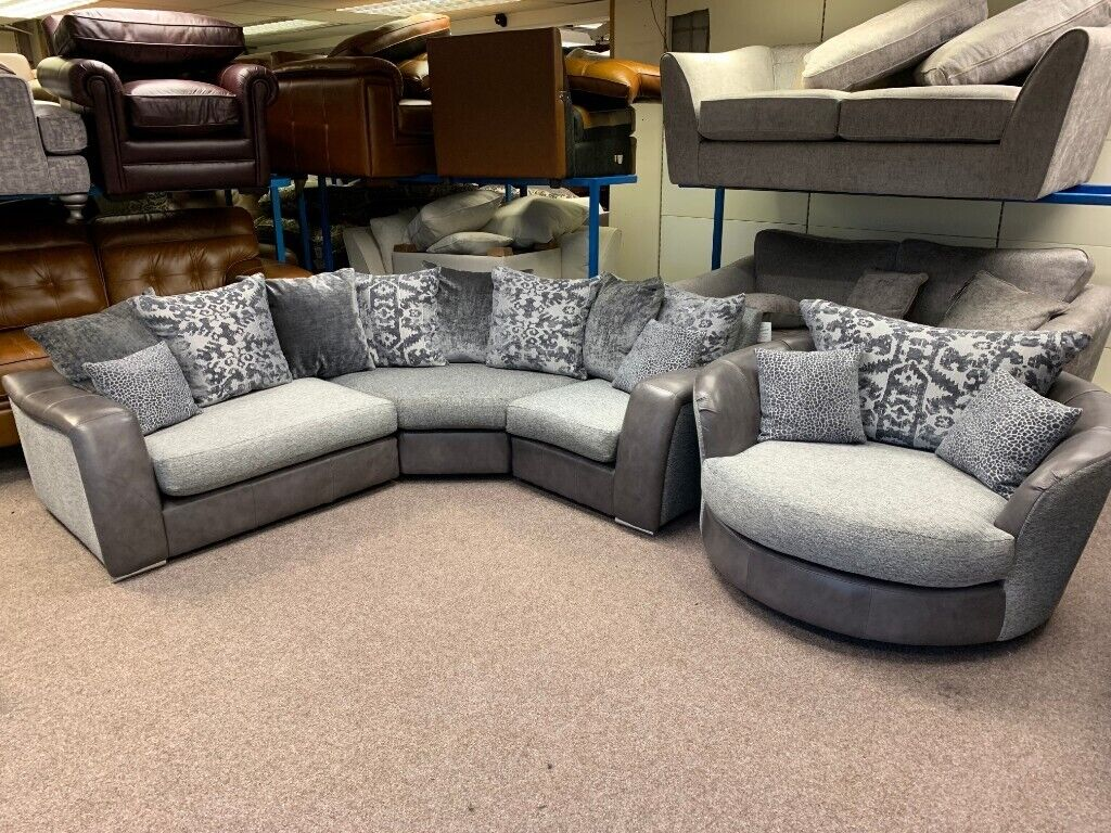 Cool Ex Display Dfs Belmont 3 Piece Corner Sofa Swivel Cuddler Chair In Grey Leather Fabric In Huthwaite Nottinghamshire Gumtree Gmtry Best Dining Table And Chair Ideas Images Gmtryco