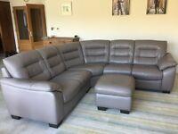 DFS Ripple Granite Leather Corner Sofa and Storage Pouffe