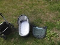 Bebecar Active Pram Used but in good condition in Olive Green with shopping tray