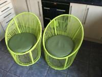 Asda lime green bistro / conservatory chairs