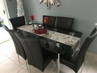 Like New Glass Dining Table 6 Leather Chairs