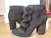 High Black Primark Pom-Pom Boots Size UK 7