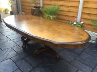 Willis & Gambia, Kensington Burl Extending Dining Table, Brand New.