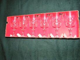 Six lead crystal wine glasses