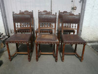 set of Six 19th Century Oak Dining Chairs with Tooled Carved Leather Seats