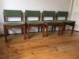 Vintage Mid Century Teak Afromosia Block Chairs