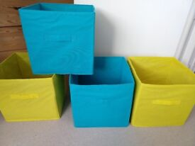 Cube storage boxes (2*blue, 2*yellow)