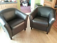 2 x Tub Chairs - Brown leather effect