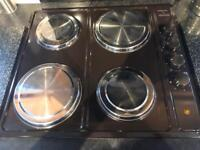 Striking electric hob with 4 stainless steel hob covers