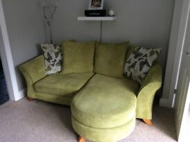 Dfs lounge sofa and cuddler couch green
