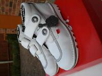 Ladies white rivet kicker boots