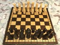 Large wooden chess set in fold away case £15