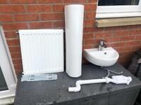 Sink/basin, radiator and tiles