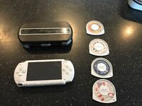 Sony PSP White Plus Case, Charger, 3 Games and Demo Disk