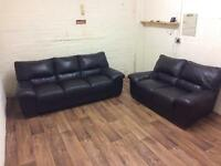 Quality leather 3+2 sofas (free delivery)