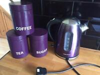 Light up morphy Richards purple kettle and Next canisters