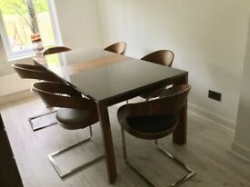 Dwell walnut and stone dining table with 6 chairs