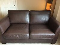 Leather sofa suite, 3 seater, 2 seater, footstool