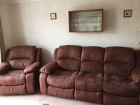 Brown reclining sofa & armchair