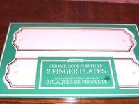 NEW White Ceramic Door Finger Plates