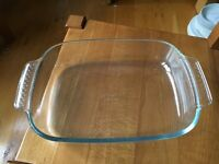 LARGE GLASS CASSEROLE OVEN DISH