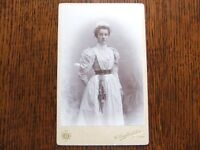 VICTORIAN CABINET PHOTOGRAPH OF A NURSE IN UNIFORM BY W. BROUGHTON & SONS THETFORD GOOD CONDITION
