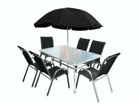 LOW PRICE GARDEN PATIO FURNITURE SETS! FOLDABLE OR STACKABLE CHAIRS! TEMPERED GLASS TABLE! PARASOL!