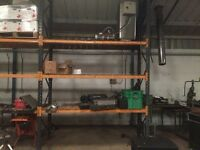 Heavy duty racking with wooden shelving 13ft high 3ft wide 5racks per ba