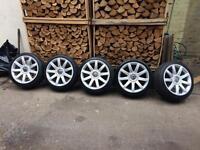 """18"""" rs4 style alloy wheels & tyres Audi A4 a3 a6 vw golf Passat bora seat"""