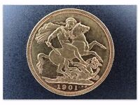 Full gold Sovereign coin Victoria 1901 M graded EXTREMELY FINE