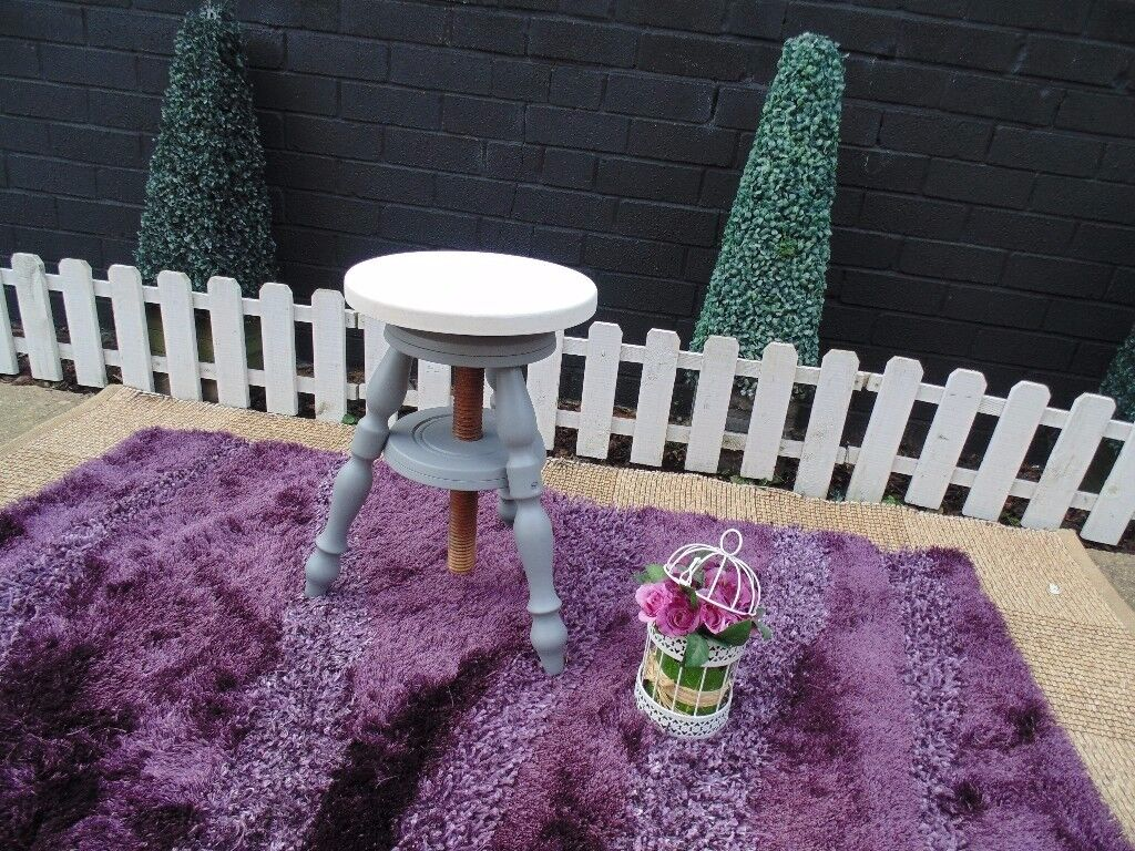 ANTIQUE SOLID PINE STOOL PAINTED WITH LAURA ASHLEY PARIS GREY AND PALE DOVE