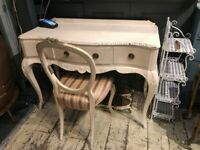 DRESSING TABLE DESK WHITE FRENCH LOUIS STYLE PAINTED SOLID WOOD