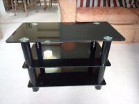 Black Glass TV Stand - 70x35x45CM (WxDxH)