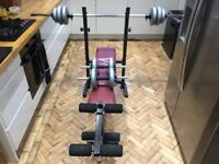 FOLDING WORKOUT GYM BENCH AND WEIGHTS DUMBBELLS - £39
