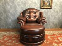 STUNNING CHESTERFIELD VICTORIAN STYLE STUDDED OXBLOOD REAL LEATHER ARMCHAIR AND STORAGE FOOTSTOOL
